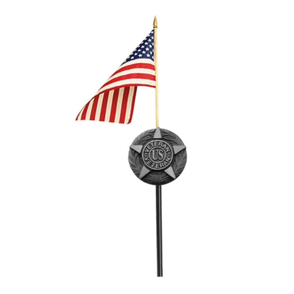 Annin Flagmakers 12 in. x 18 in. Polycotton U.S. Flag Grave Marker Set