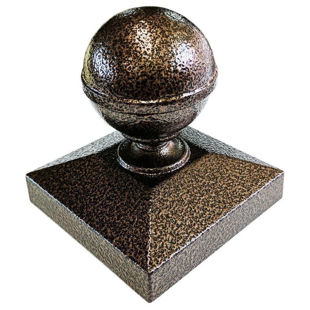 3 in. x 3 in. Copper Vein Ball Post Cap for EZ Handrail P...