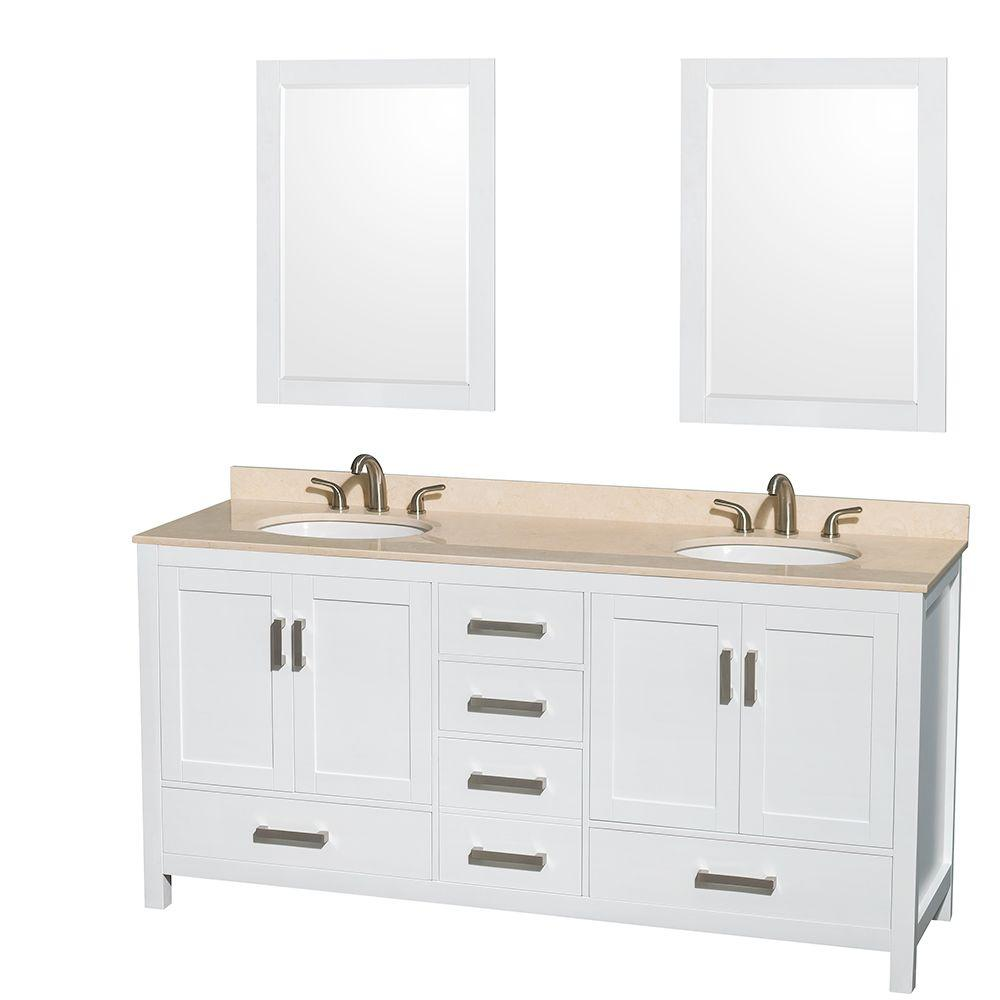 Wyndham Collection Sheffield 72 in. Double Vanity in White with Marble Vanity Top in Ivory and 24 in. Mirrors