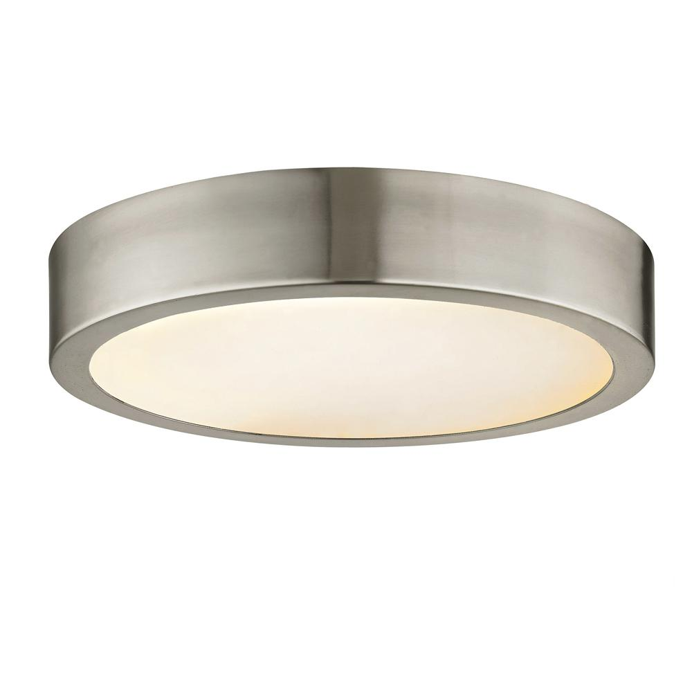 Fifth and Main Lighting Cadence 125-Watt Equivalence Brushed Nickel Integrated LED Disc Flush Mount with Glass Shade