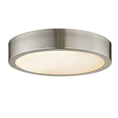 Cadence 125-Watt Equivalence Brushed Nickel Integrated LED Disc Flush Mount with Glass Shade