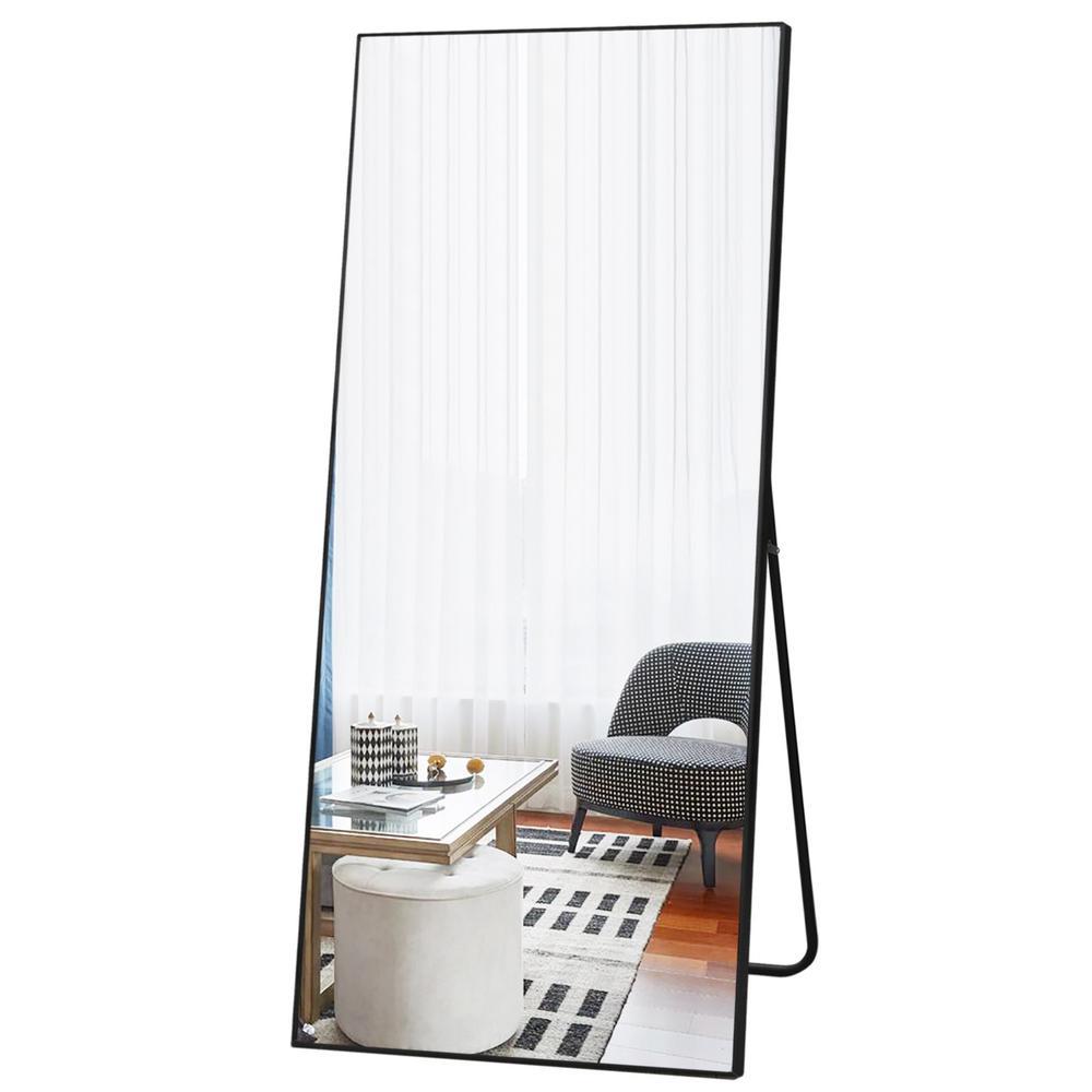 71 in. x 32 in. Modern Rectangle Shape Metal Framed Black Standing Mirror Full Length Floor Mirror Bedroom Living Room
