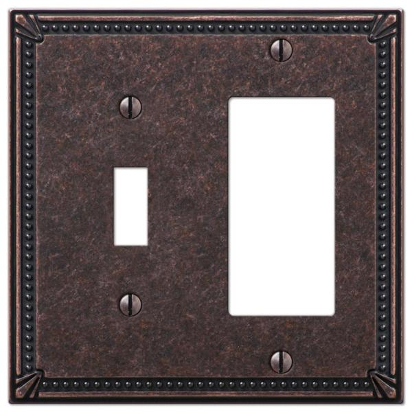 Imperial Bead 2 Gang 1-Toggle and 1-Rocker Metal Wall Plate - Tumbled Aged Bronze