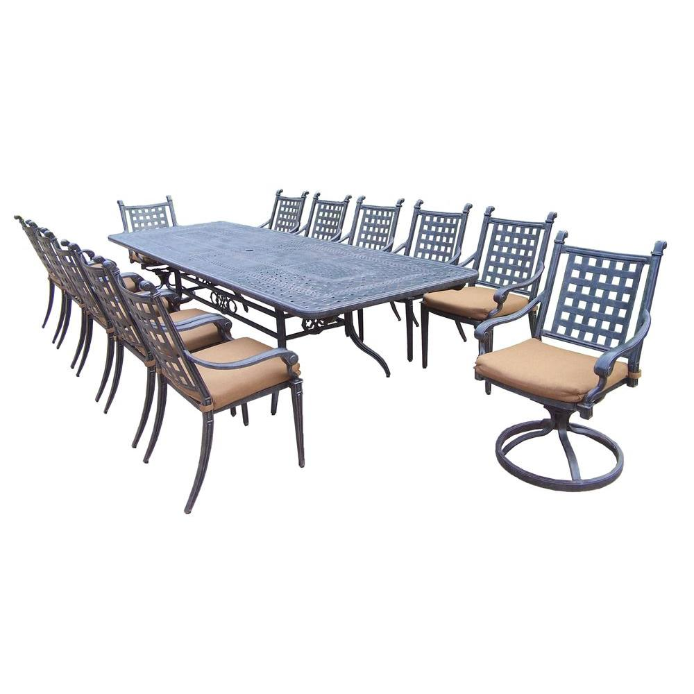 Oakland Living Extendable Cast Aluminum 13 Piece Rectangular Patio Dining  Set With Sunbrella Cushions