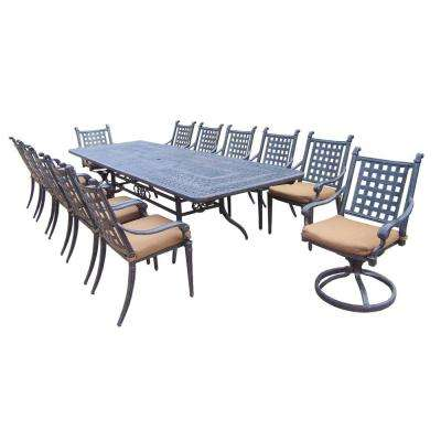 Extendable Cast Aluminum 13-Piece Rectangular Patio Dining Set with Sunbrella Cushions