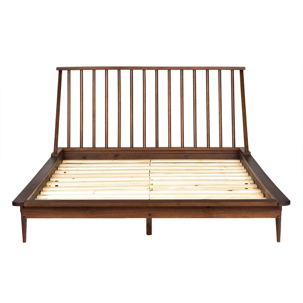 Walker edison furniture company solid wood modern walnut queen spindle bed