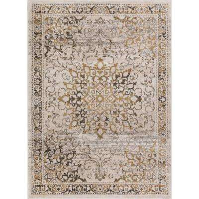 New Age Sultana Gold 8 ft. x 10 ft. Traditional Medallion Vintage Distressed Area Rug