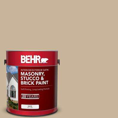 1 gal. #PPU4-07 Mushroom Bisque Satin Interior/Exterior Masonry, Stucco and Brick Paint