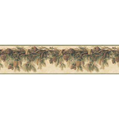 Wyola Olive Pinecone Forest Olive Wallpaper Border