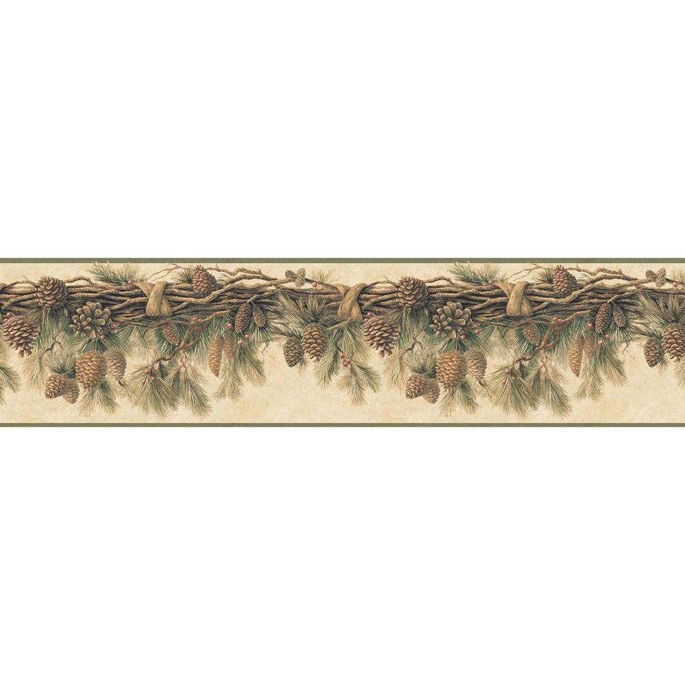 Chesapeake Wyola Olive Pinecone Forest Wallpaper Border Sample Tll01391bsam The Home Depot