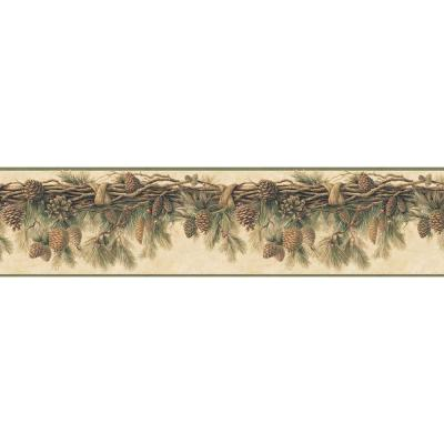 Wyola Olive Pinecone Forest Wallpaper Border Sample