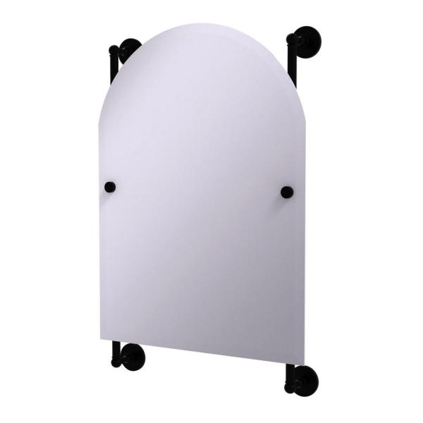 Prestige Skyline Collection Arched Top Frameless Rail Mounted Mirror in Matte Black