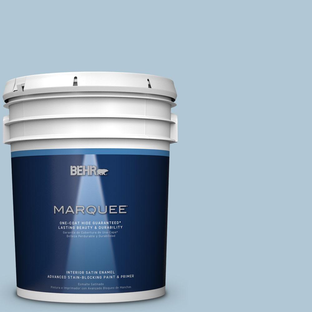 5 gal. #T15-8 Elusive Blue Satin Enamel Interior Paint