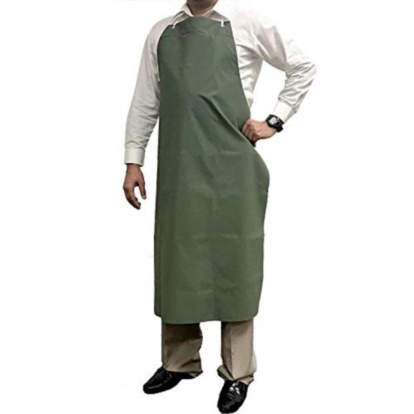 Waterproof and Oilproof Vinyl Bib Apron with Adjustable Neck, Small, Green
