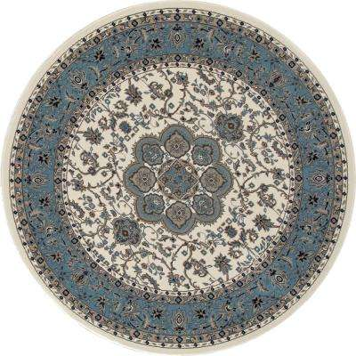 Kensington Center Glow Cream 5 ft. x 5 ft. Round Area Rug