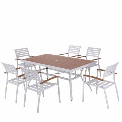 7-Piece Aluminum Polywood Outdoor Dining Set with Gray Cushions