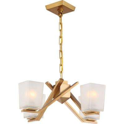 4-Light Vintage Brass Chandelier with Sandstone Glass Shade