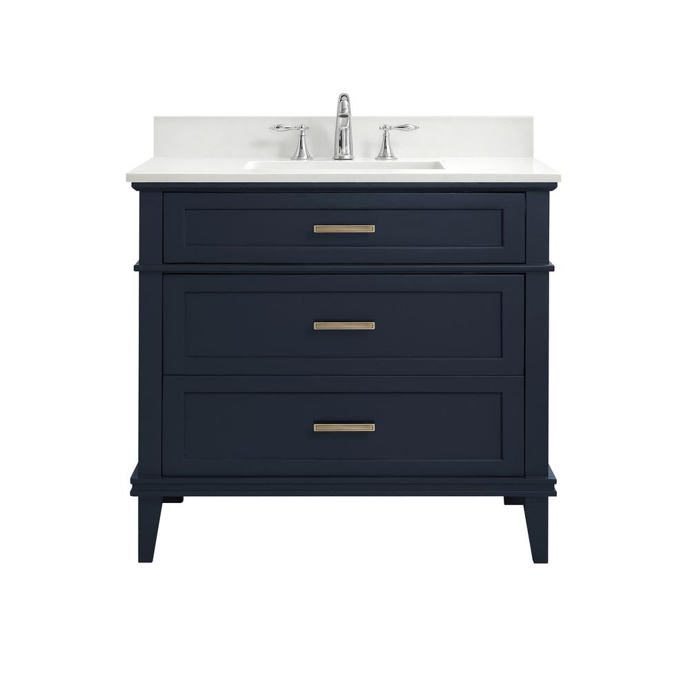 Home Decorators Collection 37 in. W x 22 in. D Bath Vanity in Midnight Blue with Engineered Marble Vanity Top in Winter White with White Basins