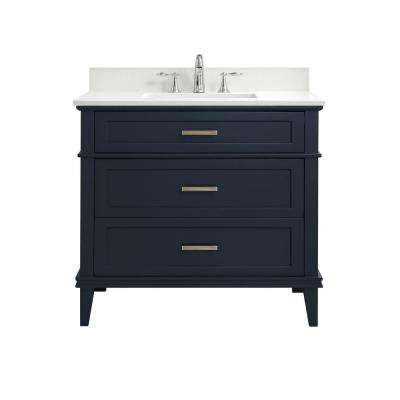 37 in. W x 22 in. D Bath Vanity in Midnight Blue with Engineered Marble Vanity Top in Winter White with White Basins