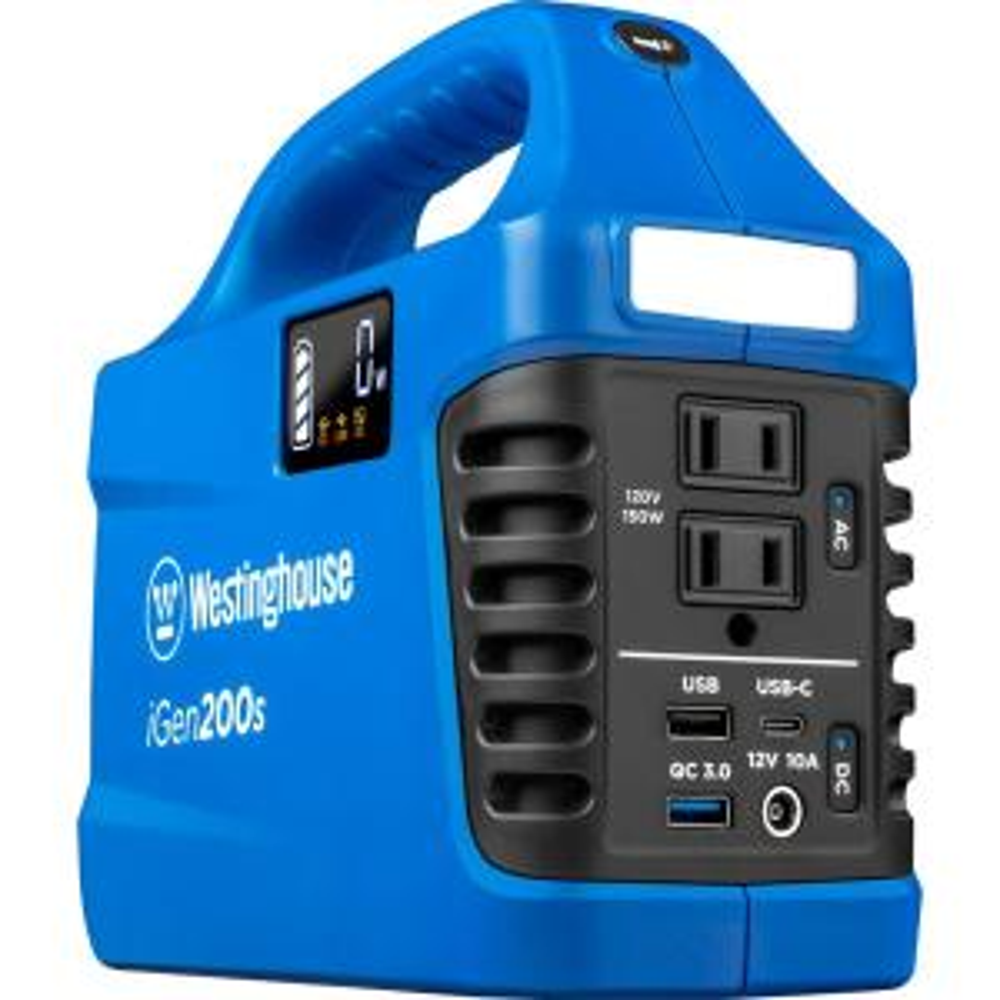 150-Watt/300-Watt Lithium-Ion Portable Power Station with Power Inverter, LCD Display, and Flashlight