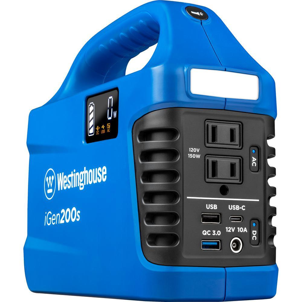 Westinghouse 150-Watt/300-Watt Lithium-Ion Portable Power Station w/ Power Inverter, LCD Display, and Flashlight