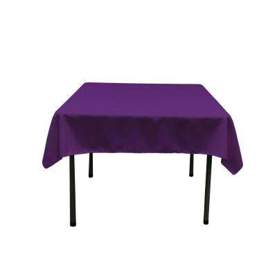 52 in. x 52 in. Purple Polyester Poplin Square Tablecloth