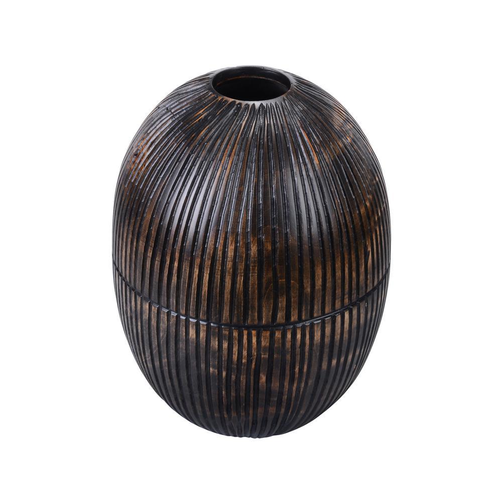 10 in. Black Decorative Handmade Oval Mango Wood Vase
