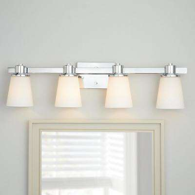 4-Light Chrome Bath Vanity Light with Bell Shaped Etched White Glass