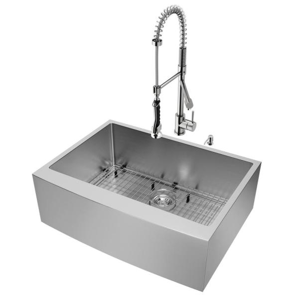 Bedford Stainless Steel 30 in. Single Bowl Farmhouse Apron-Front Kitchen Sink with Zurich Faucet and Accessories