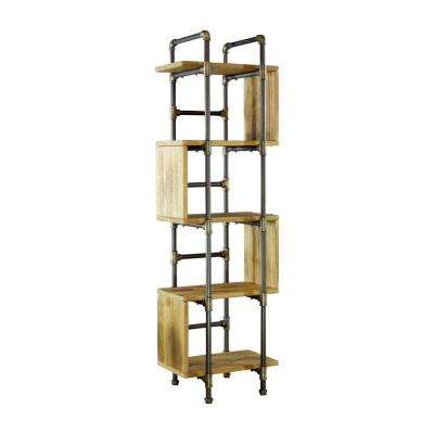 New Age 69 in. Brushed Brass/Aged Gray Metal 5-shelf Standard Bookcase with Open Back