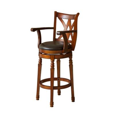 Eclipse 30 in. Brown Armed Swivel Bar Stool