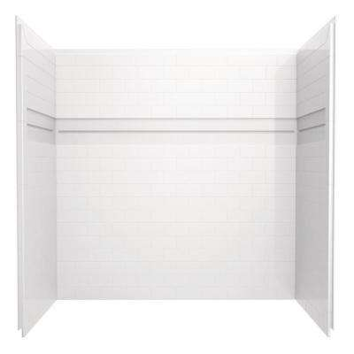 UPstile 32 in. x 60 in. x 60 in. 3-Piece Direct-to-Stud Alcove Tub Surround in White