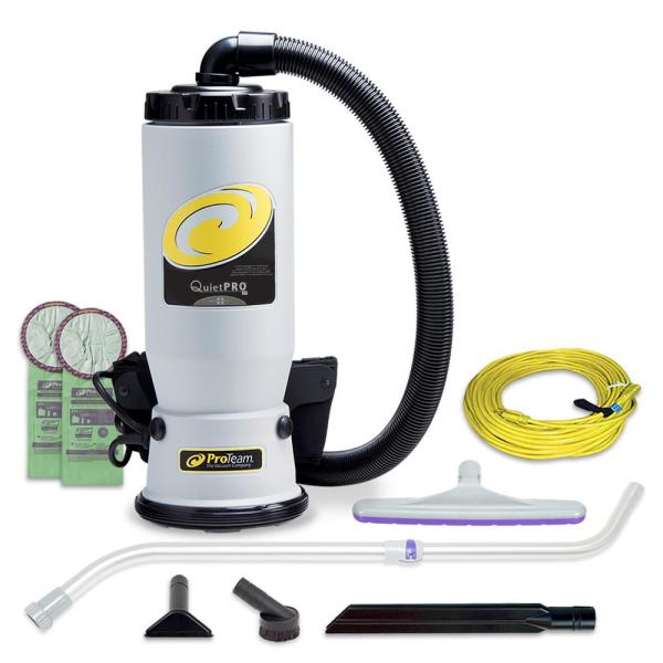 QuietPro BP 6Qt. Commerical Backpack Vacuum Cleaner with Xover Multi-Surface Telescoping Wand Tool Kit