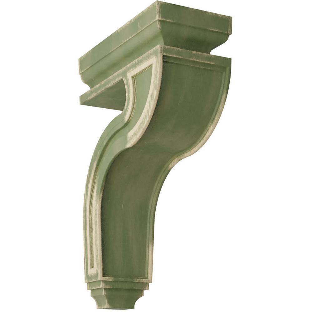 4 in. x 13 in. x 8-1/2 in. Restoration Green Hollow Back Wood Vintage Decor Corbel