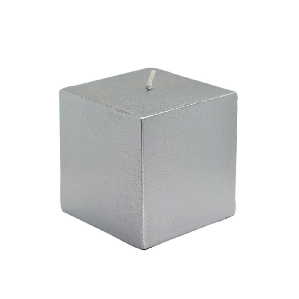 3 in. x 3 in. Metallic Silver Square Pillar Candles Bulk