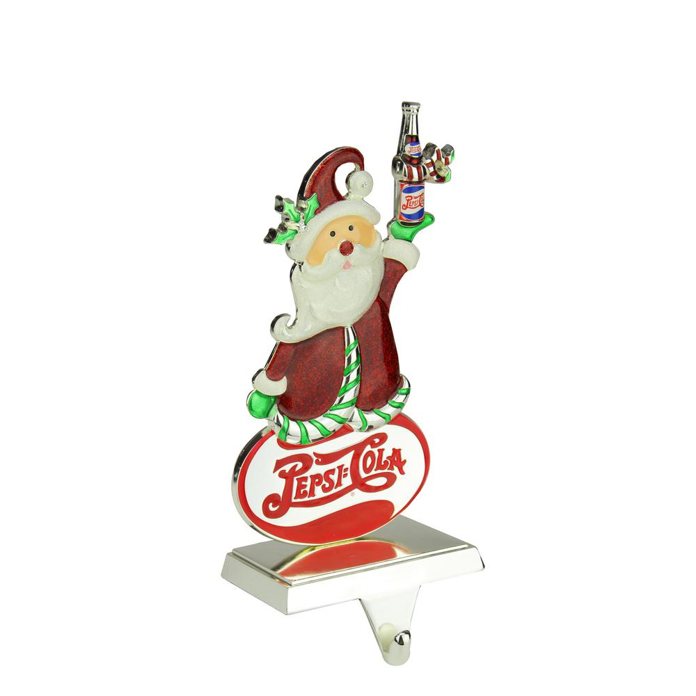 9.75 in. Christmas Silver Plated Pepsi Cola Santa Claus Stocking Holder