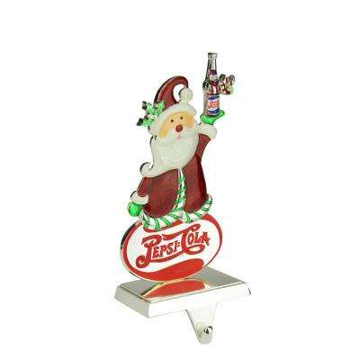 9.75 in. Christmas Silver Plated Pepsi Cola Santa Claus Stocking Holder with European Crystals