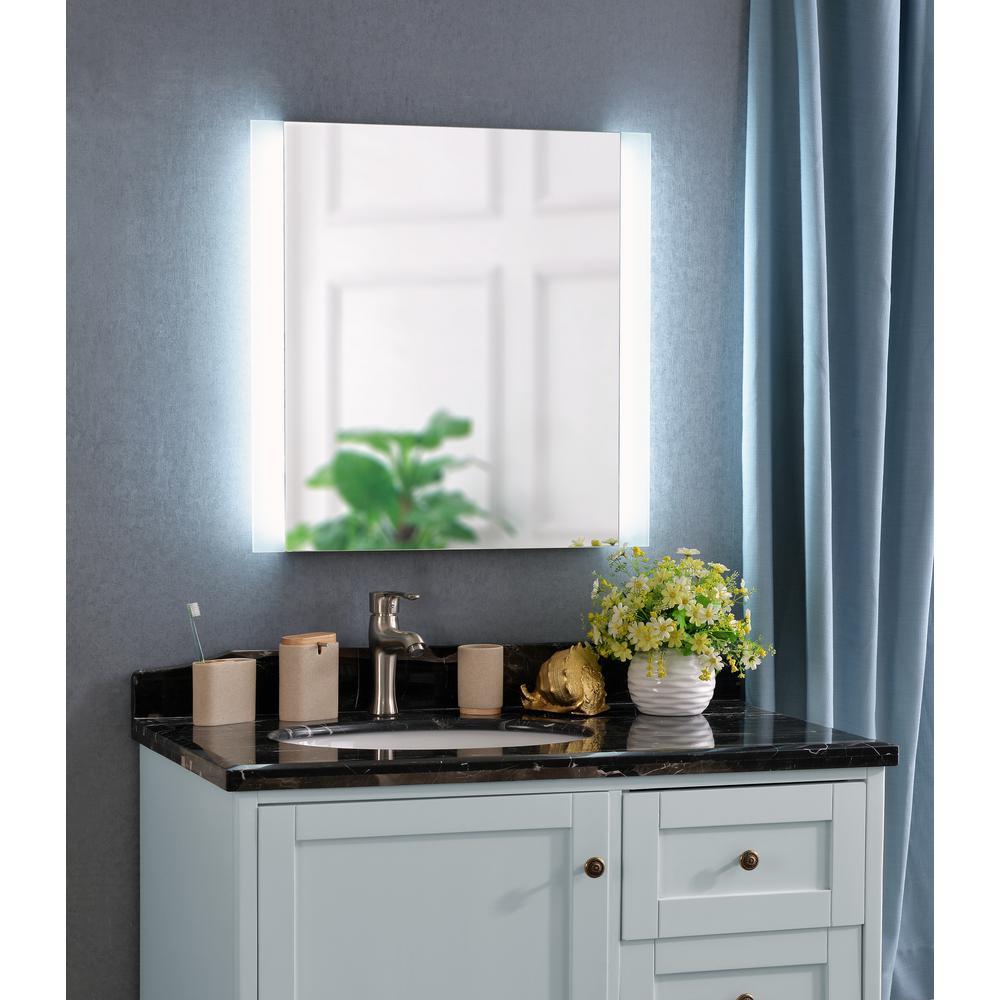 Kenroy Home Darina 2 Light Square Silver LED Bathroom Mirror 93798   The  Home Depot