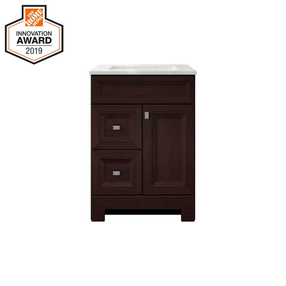 Sedgewood 24-1/2 in. W Bath Vanity in Dark Cognac with Solid Surface Technology Vanity Top in Arctic with White Sink