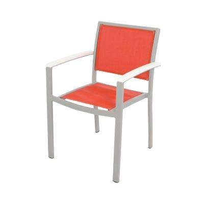 Bayline Textured Silver/White/Salsa Sling Patio Dining Arm Chair