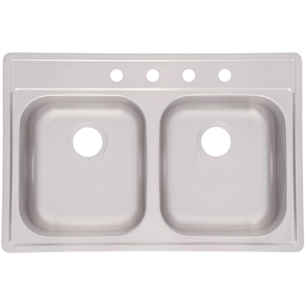FrankeUSA Fhp Drop-In Stainless Steel 33 in  4-Hole Double Bowl Kitchen Sink