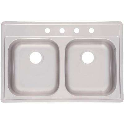 Fhp Drop-In Stainless Steel 33 in. 4-Hole Double Bowl Kitchen Sink