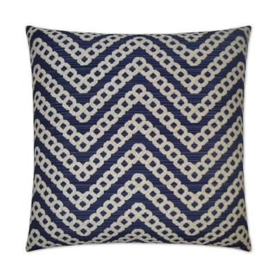 Daumier Navy Geometric Down 24 in. x 24 in. Throw Pillow