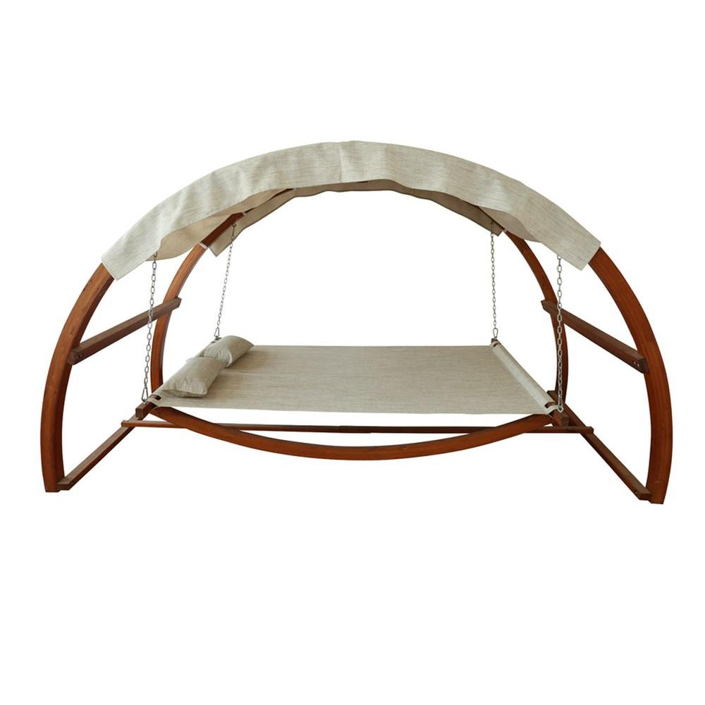 sc 1 st  The Home Depot & Leisure Season Patio Swing Bed with Canopy-SBWC402 - The Home Depot