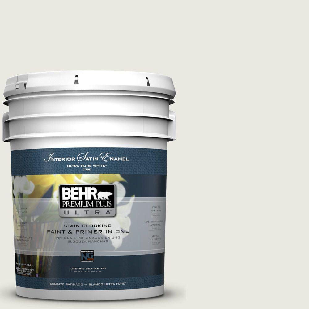 BEHR Premium Plus Ultra 5-gal. #GR-W7 Angel Feather Satin Enamel Interior Paint
