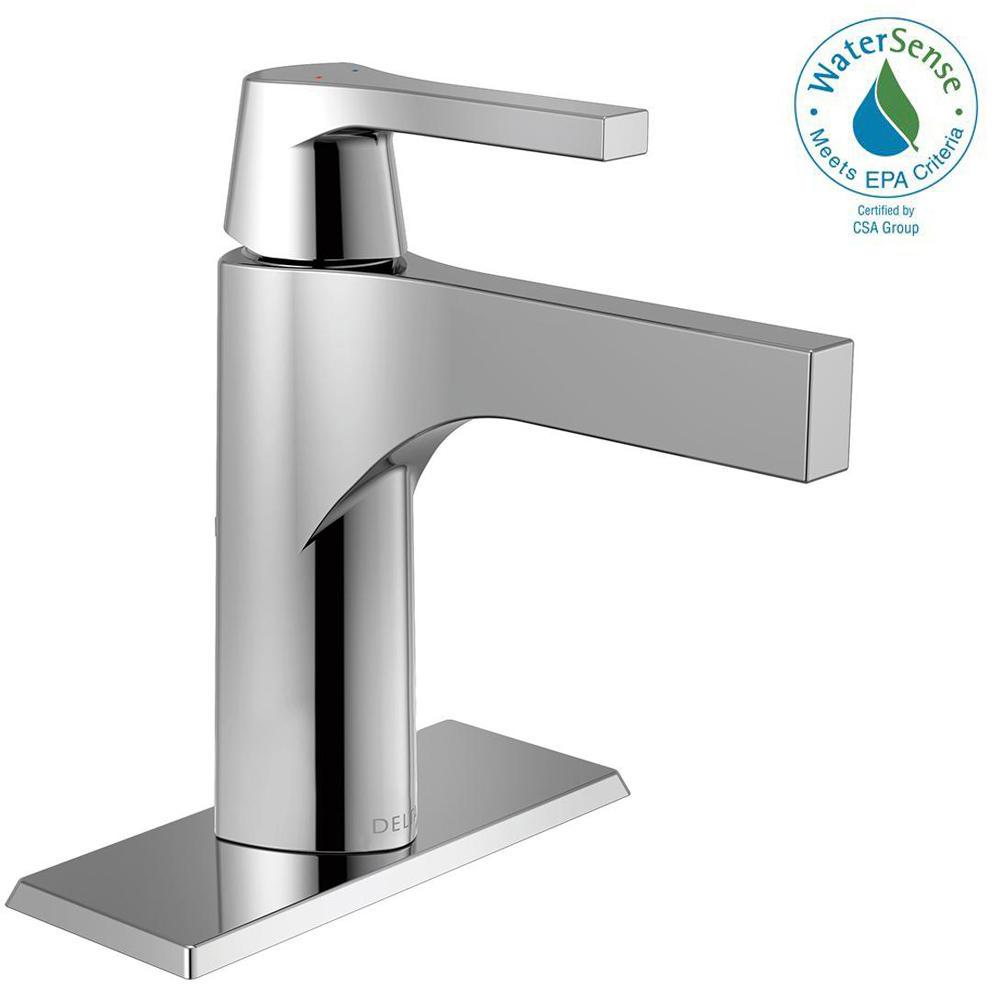 Zura Single Hole Handle Bathroom Faucet In Chrome