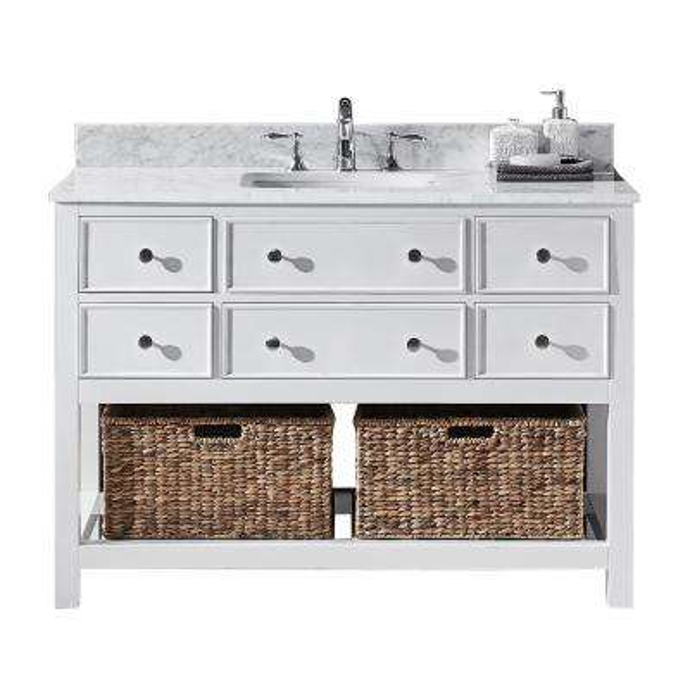 Elodie 48 in. W x 22 in. D x 34.21 in. H Bath Vanity in White with Marble Vanity Top in White with White Basin