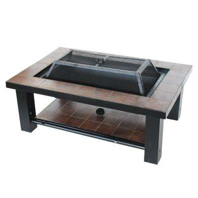 24 in. x 19 in. Rectangular Mosaic Tile Steel Wood Burning Fire Pit Table in Brown