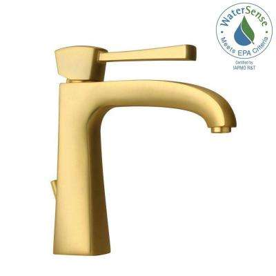 Lady Single Hole 1 Handle Low Arc Bathroom Faucet In Satin Gold