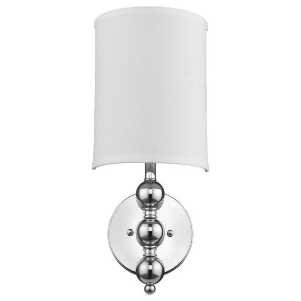 St. Clare 1-Light Polished Chrome Wall Sconce With White Linen 1/2 Round Shade